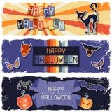 Banderas horizontales retras sucias del feliz Halloween Fotos de archivo libres de regalías