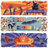 Banderas horizontales retras sucias del feliz Halloween Fotos de archivo