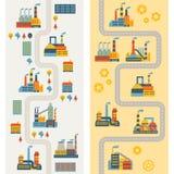Banderas industriales de la vertical de los edificios de la fábrica Fotos de archivo libres de regalías