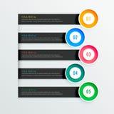 Banderas infographic elegantes con cinco pasos Fotos de archivo