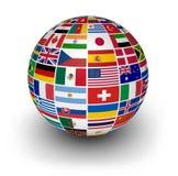 Banderas internacionales del mundo del globo Fotografía de archivo libre de regalías