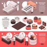 Banderas isométricas de la fabricación del chocolate stock de ilustración