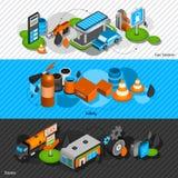 Banderas isométricas de la gasolinera fijadas ilustración del vector