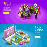 Banderas isométricas del casino fijadas stock de ilustración