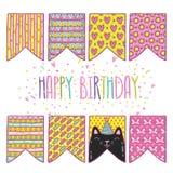 Banderas lindas del día de fiesta del feliz cumpleaños de la historieta con el gato Imágenes de archivo libres de regalías