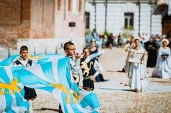 Banderas medievales Foto de archivo libre de regalías