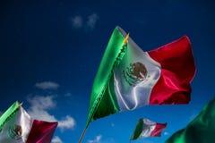 Banderas mexicanas contra un cielo nocturno, Día de la Independencia, cinco de ma imágenes de archivo libres de regalías
