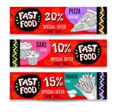 Banderas modernas coloridas de la comida rápida fijadas Fotografía de archivo