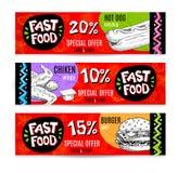 Banderas modernas coloridas de la comida rápida fijadas Fotos de archivo libres de regalías