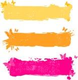 Banderas multicoloras sucias con la mariposa Fotografía de archivo