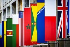 Banderas multinacionales Foto de archivo libre de regalías