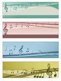 Banderas musicales Imágenes de archivo libres de regalías