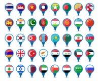 Banderas nacionales de Asia Fotos de archivo libres de regalías