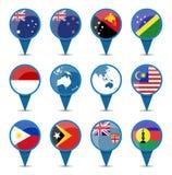 Banderas nacionales de Australia Oceanía Imagen de archivo