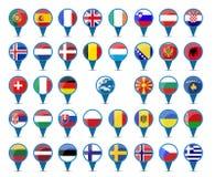Banderas nacionales de Europa Fotos de archivo