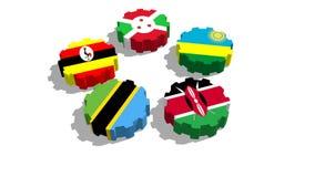 Banderas nacionales de los miembros de Eac ilustración del vector