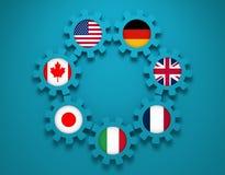 Banderas nacionales de los miembros del gigante siete en los engranajes Imagen de archivo libre de regalías