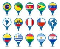 Banderas nacionales de Suramérica Imagen de archivo libre de regalías