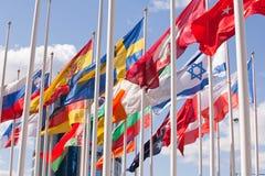 Banderas nacionales del país diferente Imagenes de archivo