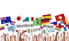 Banderas nacionales y Worldcup el Brasil 2014 Imagenes de archivo