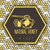 Banderas naturales de la miel del vector Sistema dibujado bio mano Imagen de archivo libre de regalías