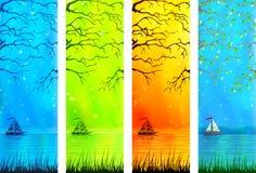 Banderas naturales del paisaje del lago con un bote pequeño libre illustration