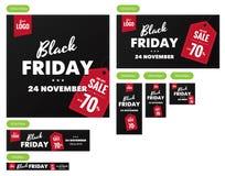 Banderas negras de la venta de viernes fijadas Fotos de archivo libres de regalías