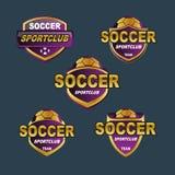 Banderas púrpuras del fútbol de la insignia del vector Fotografía de archivo libre de regalías