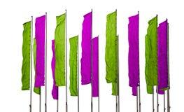 Banderas púrpuras y verdes Fotografía de archivo