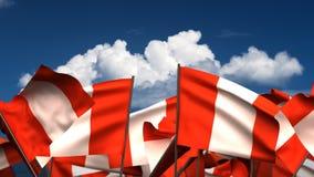 Banderas peruanas que agitan stock de ilustración