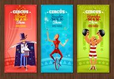 Banderas planas de la demostración del circo que viaja fijadas stock de ilustración