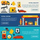 Banderas planas de la gasolinera del gas fijadas stock de ilustración