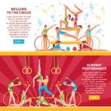 Banderas planas de los acróbatas de circo libre illustration