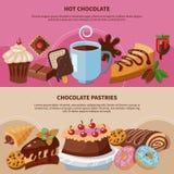 Banderas planas de los pasteles del chocolate libre illustration