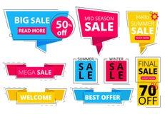 Banderas planas de moda Ofrece la publicidad de etiquetas engomadas de las etiquetas del promo de las etiquetas del descuento que stock de ilustración