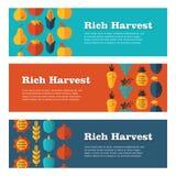 Banderas planas de Rich Harvest fijadas Imagen de archivo libre de regalías