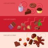 Banderas planas del chocolate ilustración del vector