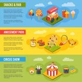 Banderas planas del concepto del circo del carnaval fijadas Imagen de archivo