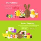 Banderas planas del sitio web de los saludos de Pascua fijadas ilustración del vector