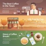 Banderas planas del vector bebidas Café ilustración del vector