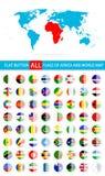 Banderas planas redondas del botón del conjunto completo y del mapa del mundo de África Imagenes de archivo