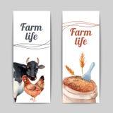 Banderas planas verticales de la vida de la granja fijadas Foto de archivo