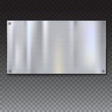 Banderas plateadas de metal cepilladas brillantes en el fondo blanco Foto de archivo