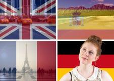 banderas principales de la lengua con las cosas típicas de los países alrededor del pensamiento de la mujer joven imagen de archivo libre de regalías
