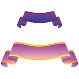Banderas púrpuras aisladas en el fondo blanco Imagen de archivo libre de regalías