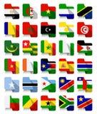 Banderas que agitan africanas del diseño plano Imagen de archivo libre de regalías