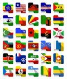Banderas que agitan africanas 2 del diseño plano Fotos de archivo libres de regalías