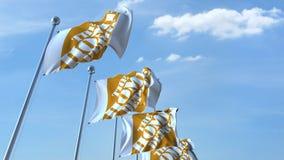 Banderas que agitan con el logotipo de Home Depot contra el cielo, representación editorial 3D Imagenes de archivo