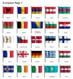 Banderas que agitan de la parte 1 de Europa Foto de archivo libre de regalías