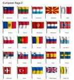Banderas que agitan de la parte 2 de Europa Foto de archivo libre de regalías